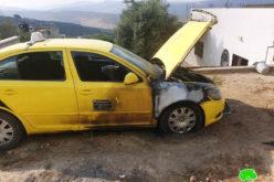 مستعمرون يحرقون مركبتين في قرية فرعتا بمحافظة قلقيلية
