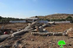 هدم جدران استنادية شرق مدينة قلقيلية