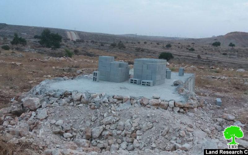 A notice targets a water harvesting cistern in Az-Zawiya/ Salfit