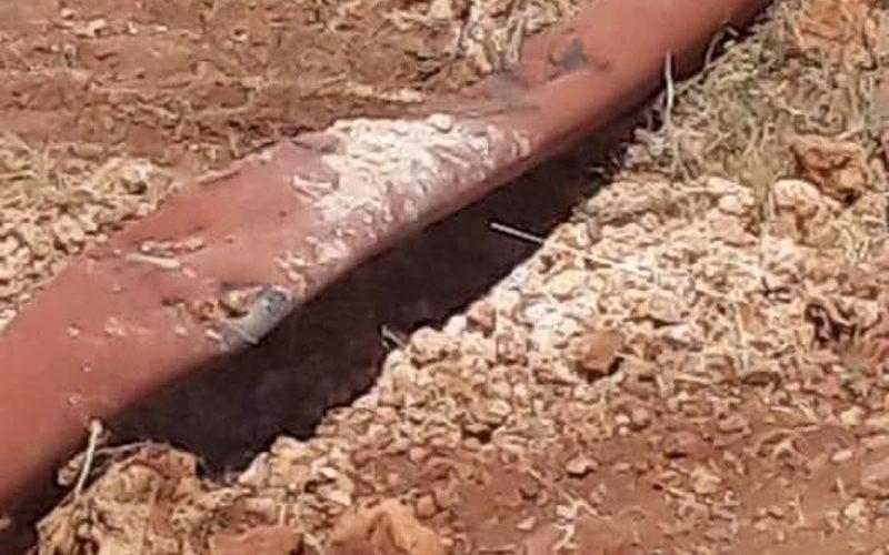 تدمير خط مائي ناقل في قرية بردلة / محافظة طوباس