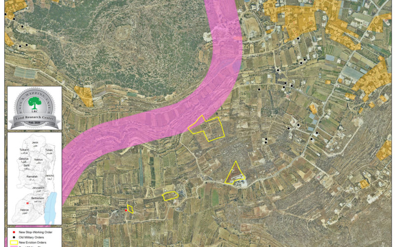 إخطارات بإخلاء أراضي زراعية في شيوخ العروب شمال الخليل