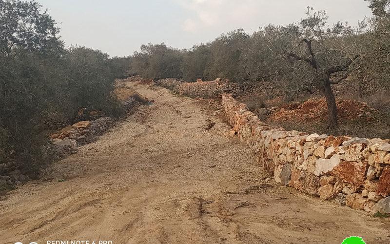 The Israeli Occupation halts work on an agricultural road / Deir Istiya