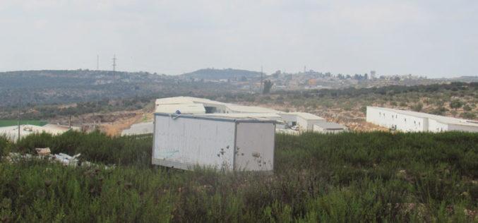 مستعمرون يضعون بيوت متنقلة على أراضي قرية اماتين بمحافظة قلقيلية