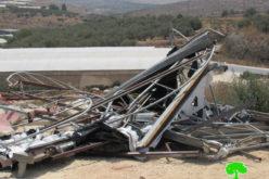 هدم منشأة تجارية في قرية جبارة بمحافظة طولكرم