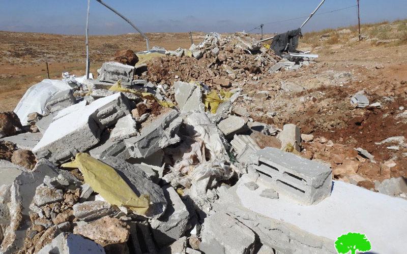 """الاحتلال يهدم غرفة سكنية بخربة """" وادي جحيش"""" جنوب يطا بمحافظة الخليل"""