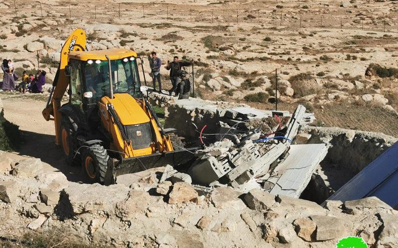 هدم مساكن وتدمير شبكة مياه في قرى مسافر يطا جنوب الخليل
