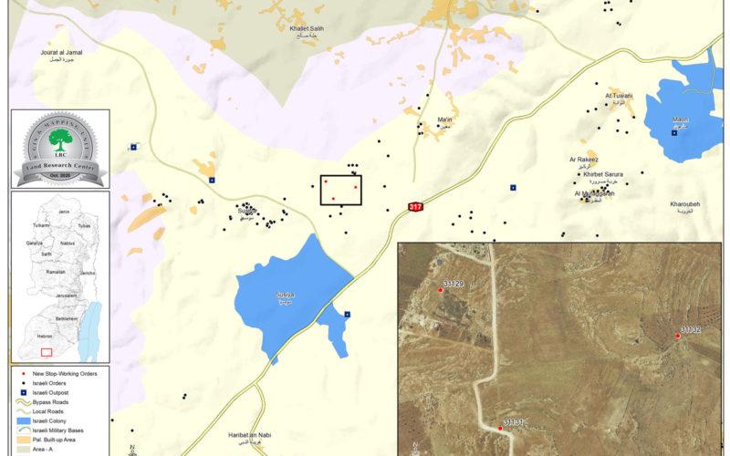 """إخطارات بوقف العمل في منزل ومنشآت بمنطقة """" غزيزي"""" جنوب يطا بمحافظة الخليل"""