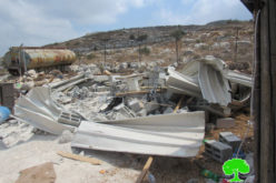 Demolishing a Residence and a Water Reservoir in Al-Faraseen Village / Jenin governorate