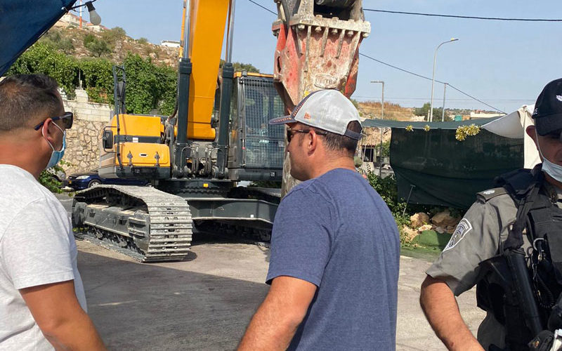 Demolishing a Carwash in Al-Khader town / Bethlehem governorate