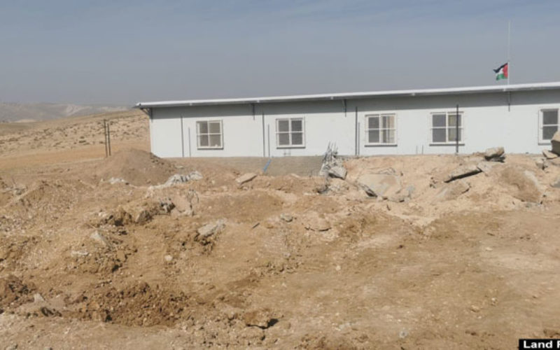 The Occupation Demolishes a Mosque and a Cistern in Umm Qassa south Hebron