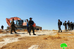 The occupation authorities demolish facilities and homes in separate areas of Hebron Governorate