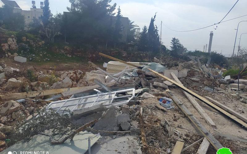 هدم غرفة زراعية في قرية حارس بمحافظة سلفيت