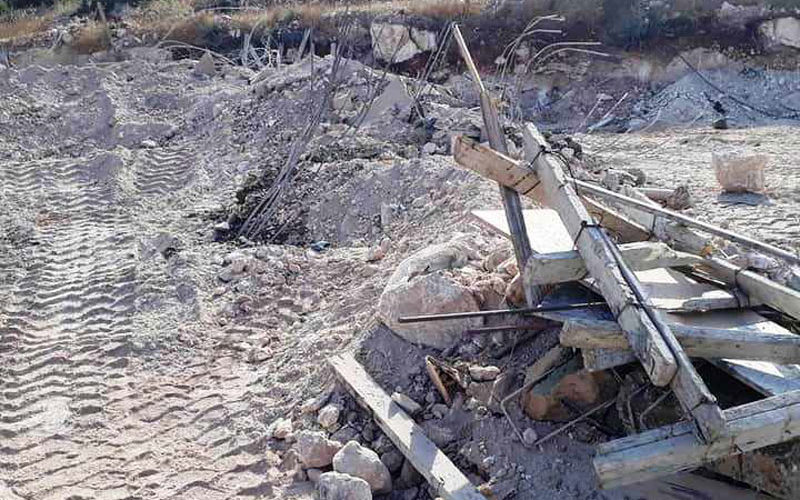 The Occupation Demolishes the Foundation of a House in