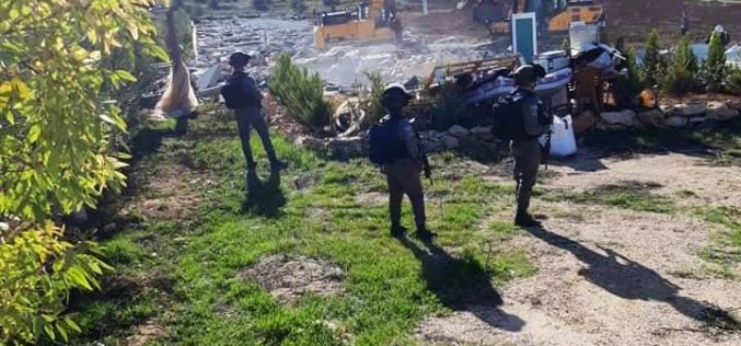 The Israeli Occupation Authorities demolish residential and agricultural structures in Hebron governorate