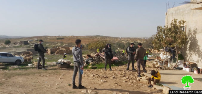 Barn demolished and confiscated in Khirbet As-Semya west As-Samou' Hebron Governorate