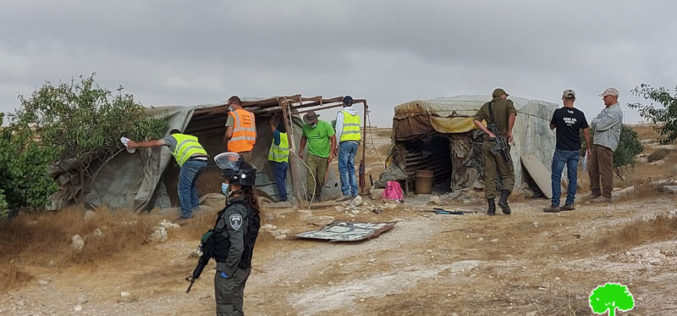 Israeli Occupation Forces demolish agricultural and residential structures in the Hebron governorate
