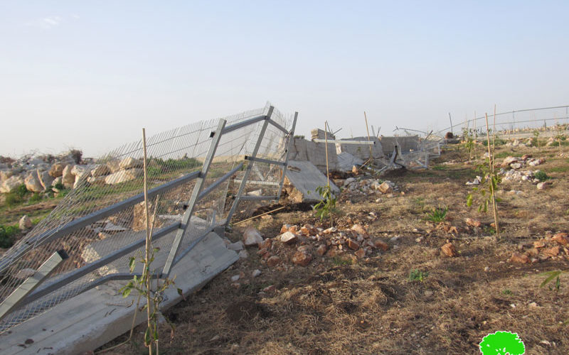 Demolishing a Retaining Wall and a Siege that surround a plot in Jubara village / Tulkarm governorate