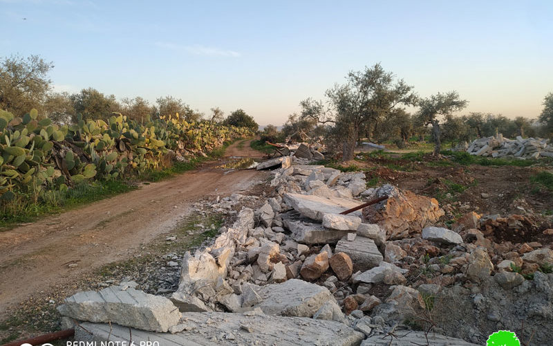 The Israeli Occupation demolished Retaining Walls in Ni'lin village \ Ramallah governorate