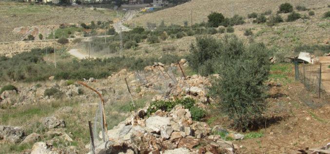 هدم غرفة زراعية وجدران استنادية في قرية شبتين / محافظة رام الله