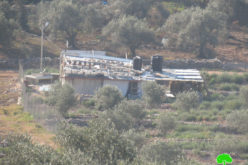 إخطار بهدم وإزالة غرفة زراعية في قرية واد الرشا شرق مدينة قلقيلية