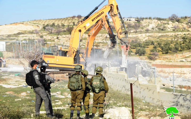A house and cistern demolished in Khallet al-Maghribi, south of Hebron