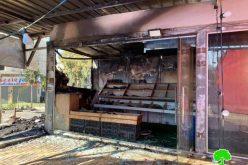 جيش الاحتلال يتسبب في إحراق محل تجاري لبيع الخضار في بلدة نعلين بمحافظة رام الله