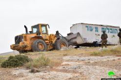 الاحتلال يصادر منشآت زراعية في واد الرخيم جنوب يطا بمحافظة الخليل
