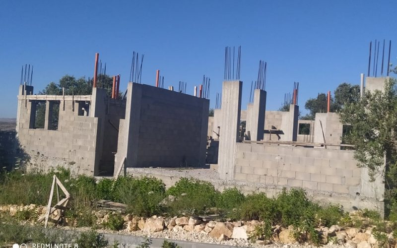 Demolition Notice For an under-construction house in Bruqin town / Salfit Governorate