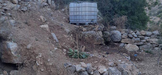 قطع غراس زيتون وتدمير ممتلكات زراعية في منطقة واد قانا / محافظة سلفيت