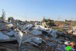 Israeli Occupation Demolishes Structures in Haris village / Salfit governorate