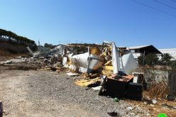 The Occupation Machineries Leveled down a Garage in Hebron